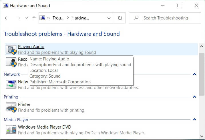 Click on Playing Audio inside Sound sub-category