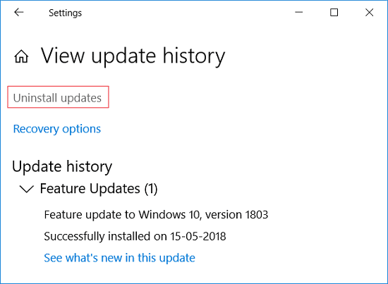 Click on Uninstall updates under view update history