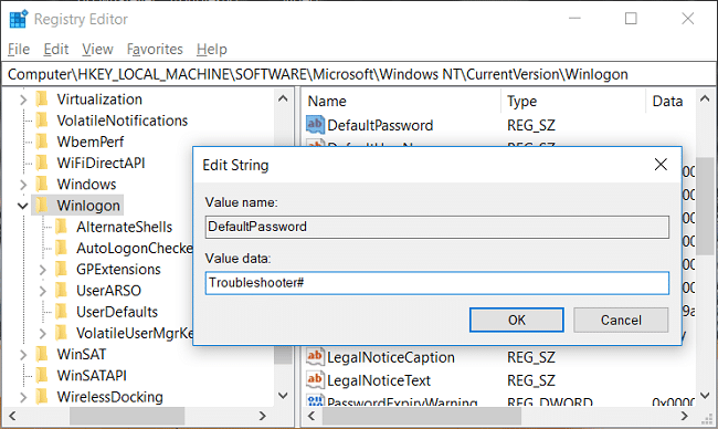 Double-click on DefaultPassword thentype the password of the above user account | Automatically Log in to User Account in Windows 10