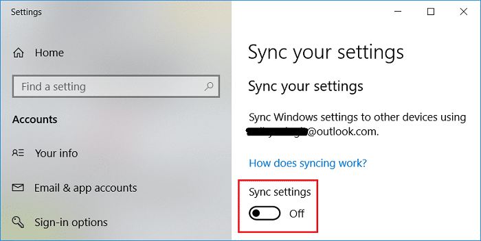 Make sure to disable or turn OFF the toggle for Sync settings