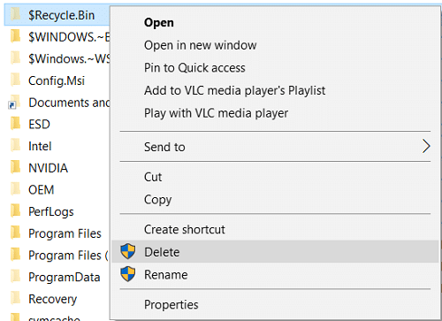 Right-click on $RECYCLE.BIN folder and select Delete
