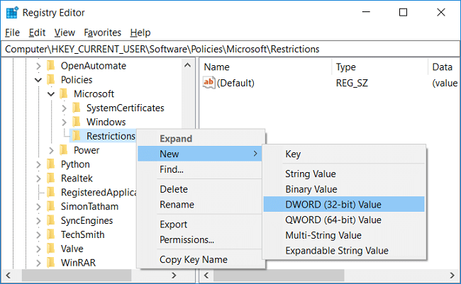 Right-click on Restrictions then select New and DWORD (32-bit) Value