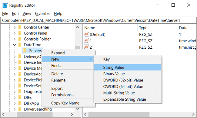 Right-click on Servers then select New and click String value