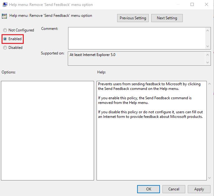 Set Remove 'Send Feedback' menu option to Enabled