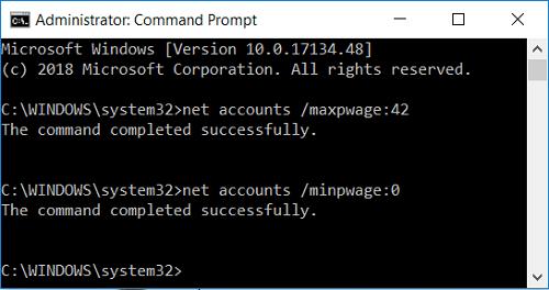 Set minimum and maximum password age in command prompt