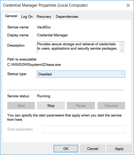 Set the Startup type to Disabled from the drop-down of Credential Manager Service