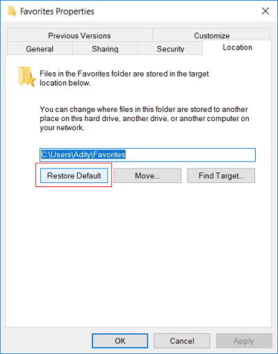 Switch to the Location tab then click on Restore Default button