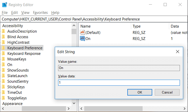 To Enable Underline Access Key Shortcuts then double-click on On and change it's value to 1