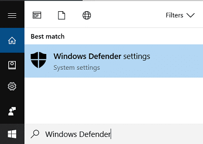 Type Windows Defender and click on the search result | Fix Windows Defender Update fails with error 0x80070643