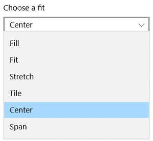 Under Choose a fit, you can choose fill, fit, stretch, tile, center, or span on your displays