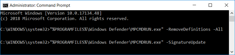 Use the command prompt to update Windows Defender | Fix Windows Defender Update fails with error 0x80070643