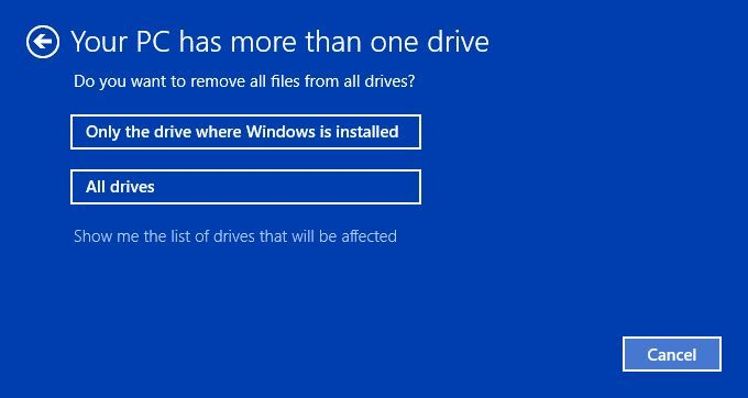 click on only the drive where Windows is installed