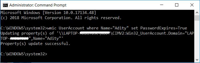 wmic UserAccount where Name=Username set PasswordExpires=True | Enable or Disable Password Expiration in Windows 10