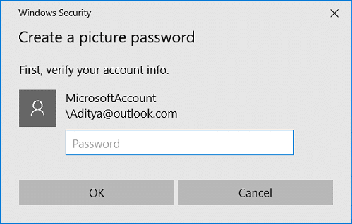 A local account must have a password to be able to add a picture password