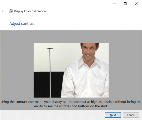 Adjust the contrast using the contrast control on your display and set it high enough as described in the image and click Next