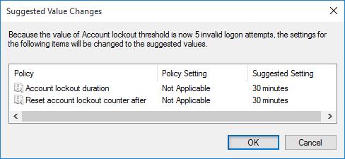 Change Account lockout threshold