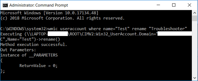 Change User Account Name in Windows 10 using Command Prompt