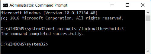 Change lockout account threshold value using command prompt