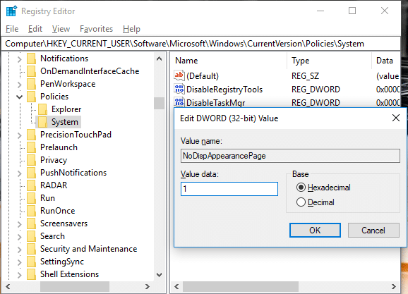 Change the value of NoDispAppearancePage to 1 to prevent changing color and appearance in Windows 10