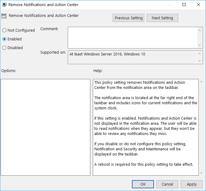Checkmark Enabled in order to Disable Action Center