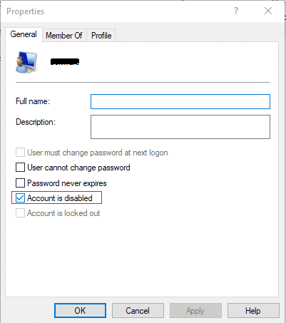 Checkmark Account is disabled in order to disable the user account