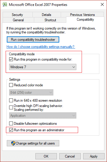 Checkmark 'Run this program in compatibility mode for' & 'Run this program as an administrator'