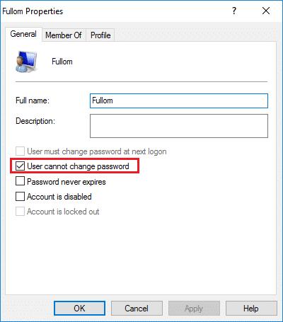 Checkmark User cannot change password under user account properties