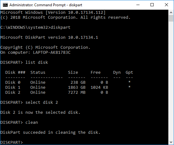 Clean Disk using Diskpart Clean Command in Windows 10