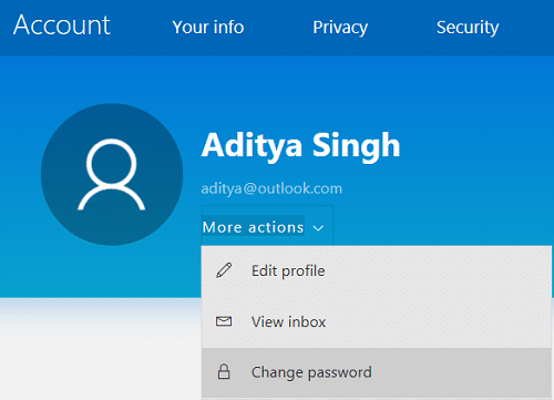 Click More actions then select Change password | How to change your Account Password in Windows 10