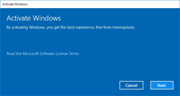 Click Next to Activate Windows 10
