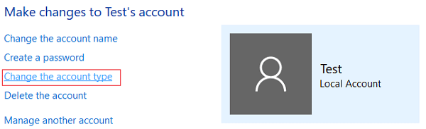 Click on Change the account type in Control Panel
