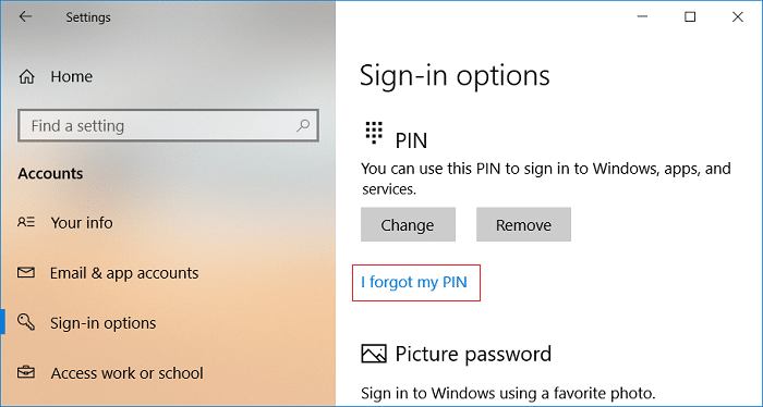 Click on I forgot my PIN under PIN | How to Add a PIN to Your Account in Windows 10