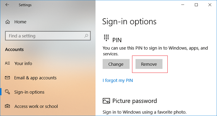 Click on Remove under PIN Sign-in options | How to Add a PIN to Your Account in Windows 10