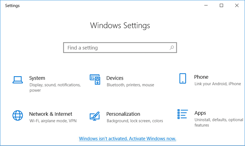 Click on Windows isn't activated. Activate Windows now