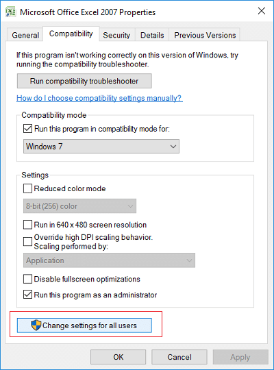 Click the button Change settings for all users