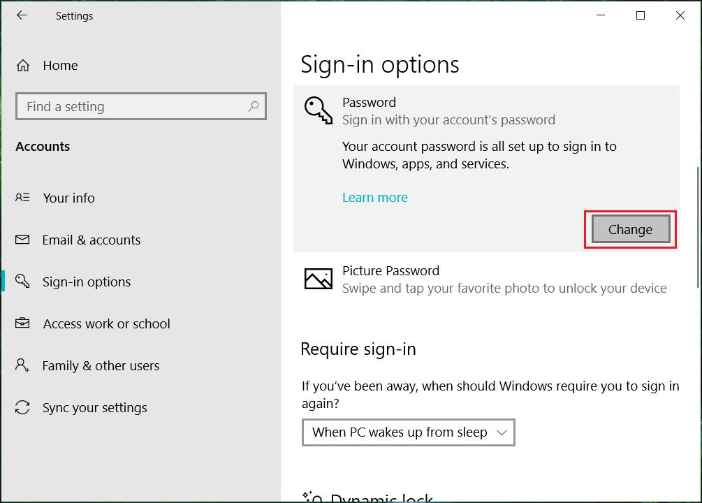 Clicks on Change under Password