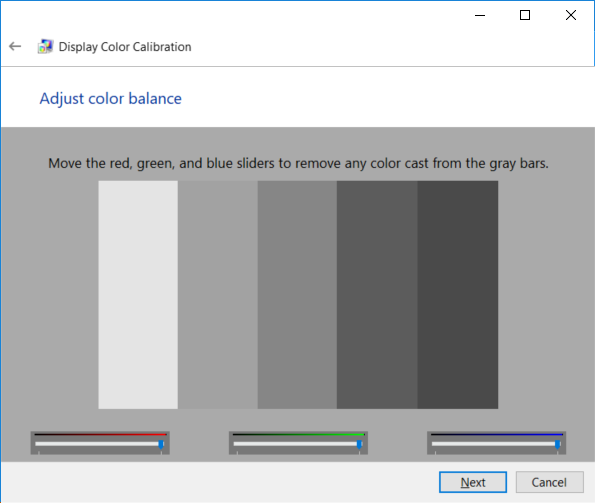 Configure the color balance by adjusting the red, green, and blue sliders to remove any color cast from the gray bars and click Next