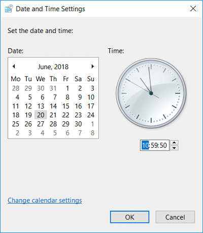Configure the date and time accordingly