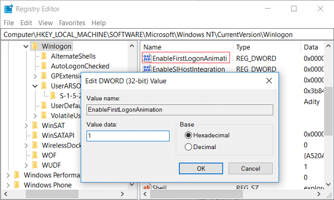 Double-click on EnableFirstLogonAnimation DWORD then change it's value to