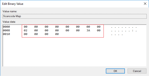 Double-click on Scancode Map and to disable caps lock change it's value to