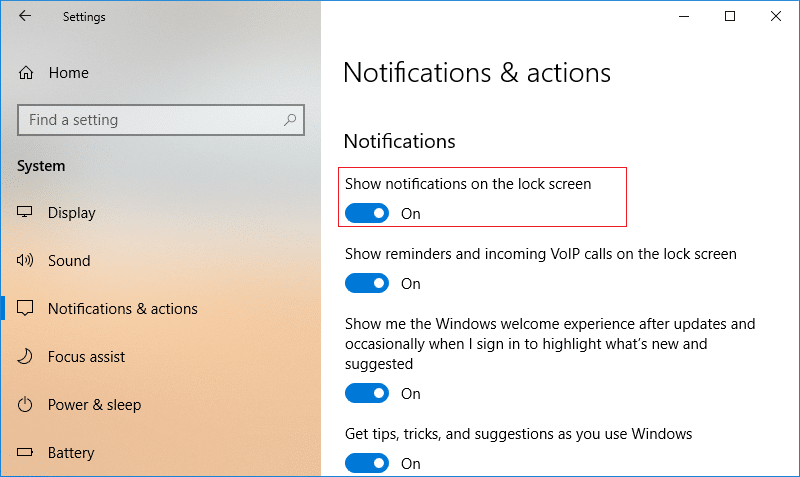 Enable or Disable the toggle for Show notifications on the lock screen