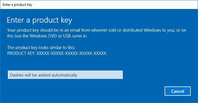 Enter a Product key Windows 10 Activation