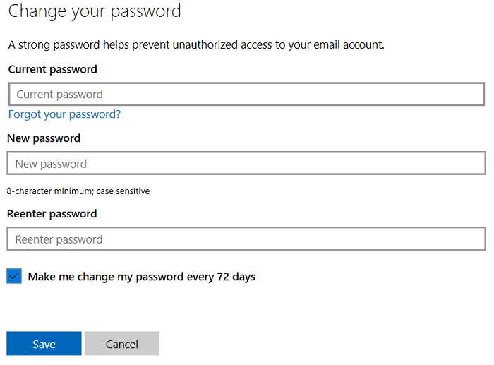 Enter your current password then enter your new password to change microsoft account password