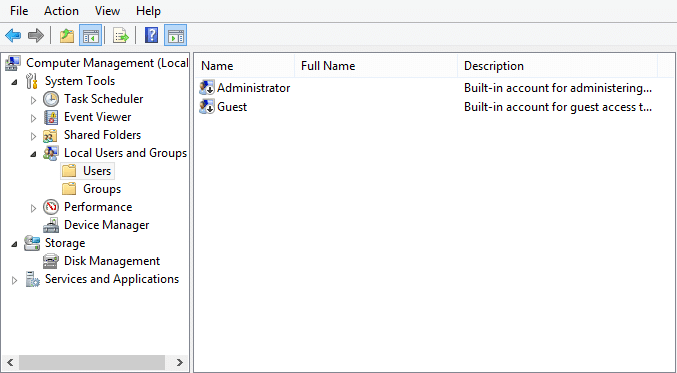 Expand Local Users and Groups (Local) then select Users