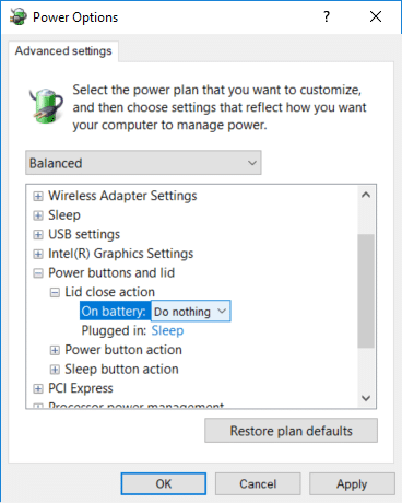 Expand 'Power buttons and lid' then do the same for 'Lid close action'