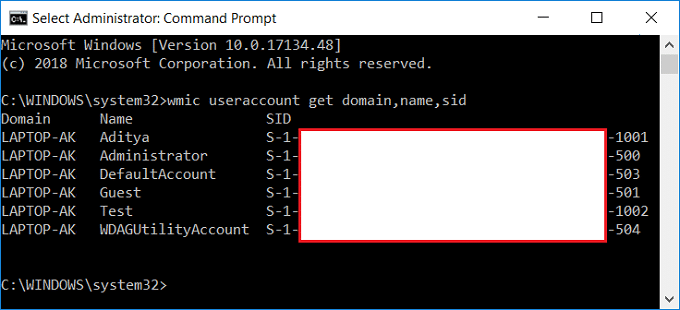 Find Security Identifier (SID) of All Users