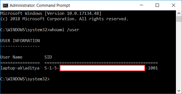 Find Security Identifier (SID) of Current User whoami /user | Find Security Identifier (SID) of User in Windows 10