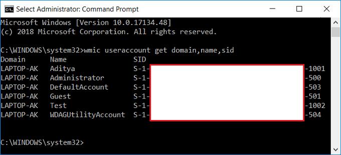 Find Security Identifier (SID) of User in Windows 10
