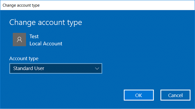From the Account type dropdown select either Standard User or Administrator