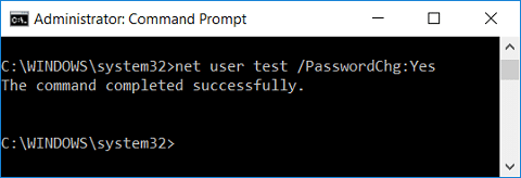 Give password change privileges to the user using command prompt